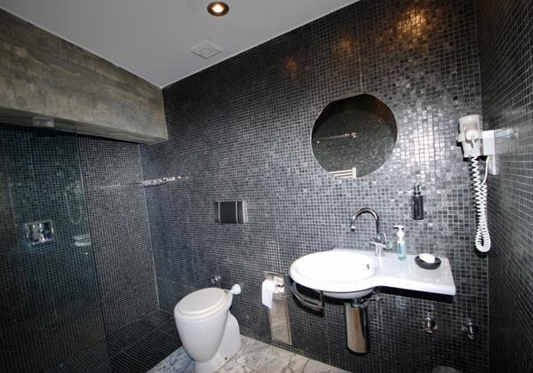 Modern bathroom with large shower in holiday home