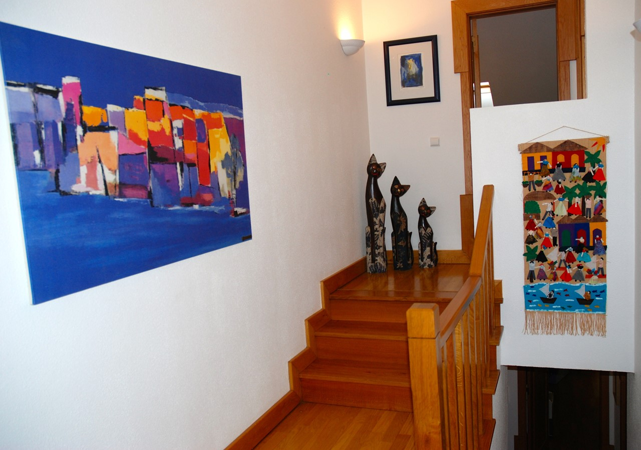 Art in hallway and stairs