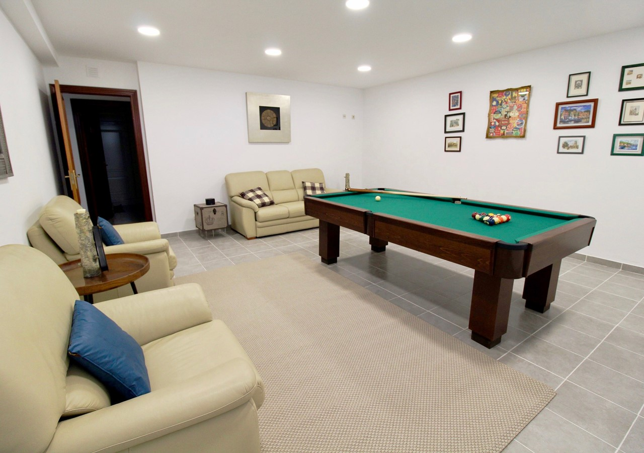 Games room in luxurious holiday villa