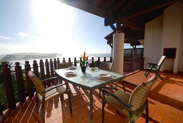 Private balcony with dining area