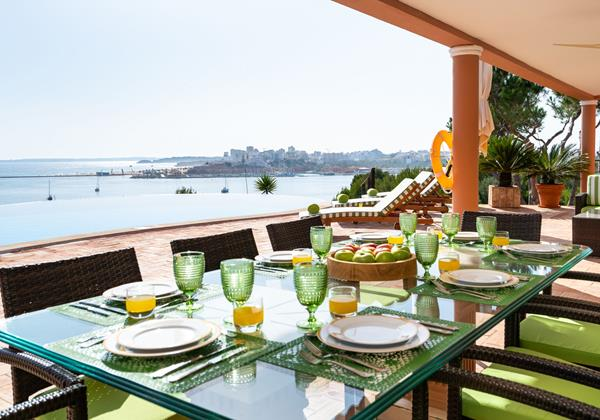 Outside Dining Area With View Over The Sea